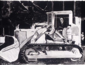 Mayakovsky in a Bulldozer in Vermeer's Little Street in Delft (Study)
